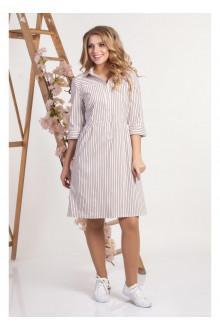 платье ЭМИЛЬ жемчужно-розовая полоска